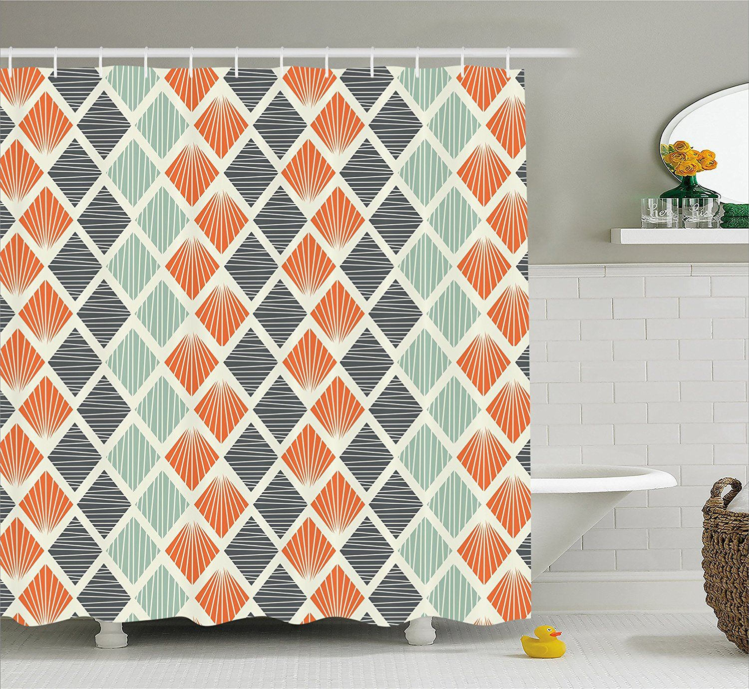Amazon Com Geometric Decor Shower Curtain By Ambesonne Pop Art