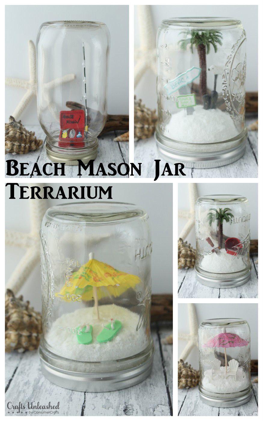 Mason Jar Terrarium Beach Themed Crafts Unleashed Beach Mason