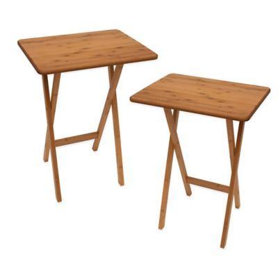 Lipper Bamboo Folding Snack Tables (Set Of 2)   BedBathandBeyond.com