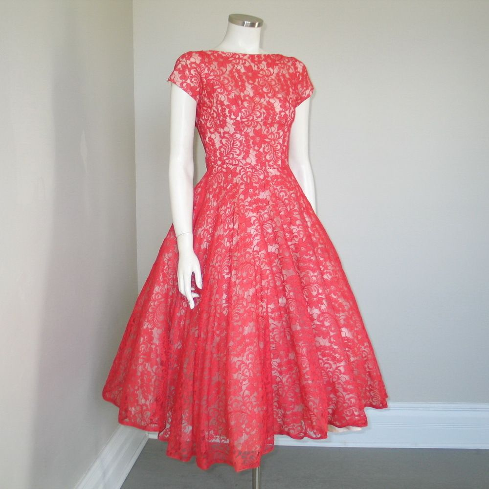 83f9046cde2 Vintage 1950s Lipstick Red Sheer Lace Princess Cut Fit and Flare Party  Dress XS S