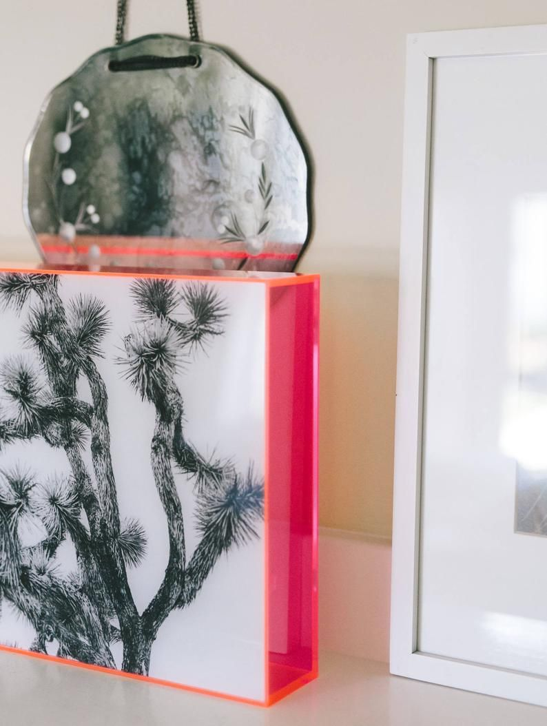 Monochrome Print In Neon Pink Acrylic Frame Etsy In 2020 Monochrome Prints Pink Acrylics Acrylic Frames