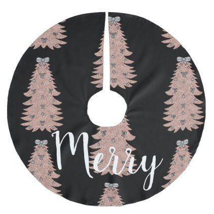 Christmas Tree Skirt Black and Rose Gold Color - rose style gifts