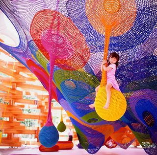 hand knitted playspace in Japan called Woods of Net