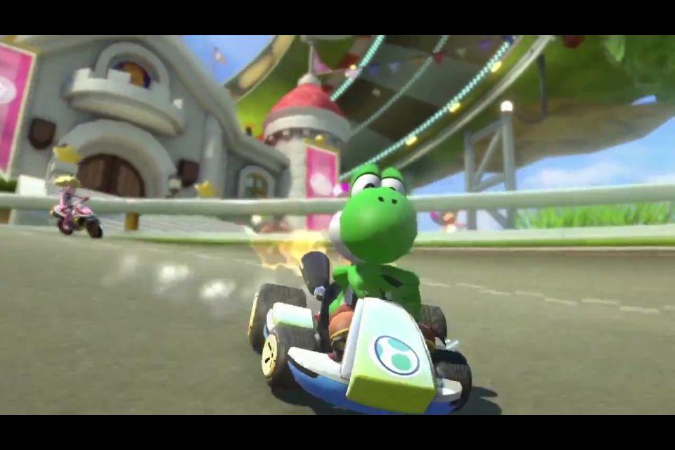 Princess Peach And Yoshi Racing Yoshi Mario Kart Mario