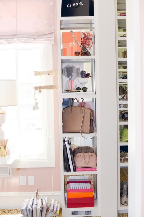 cute way to show off bags and accessories in closet