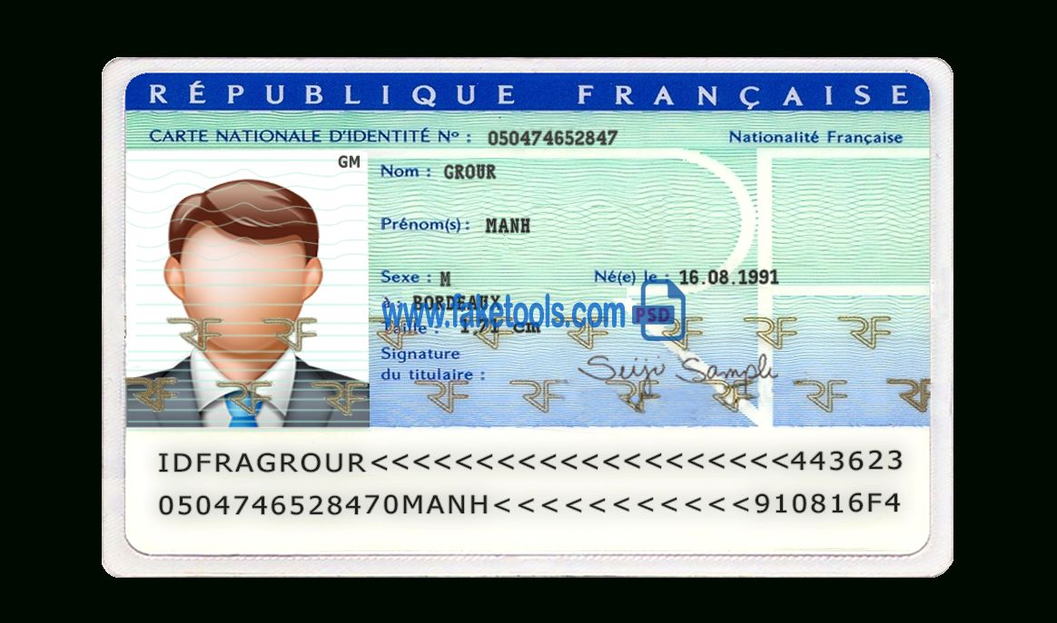 France Id Card Psd Template With French Id Card Template Great Sample Templates Id Card Template Card Template Gift Card Template