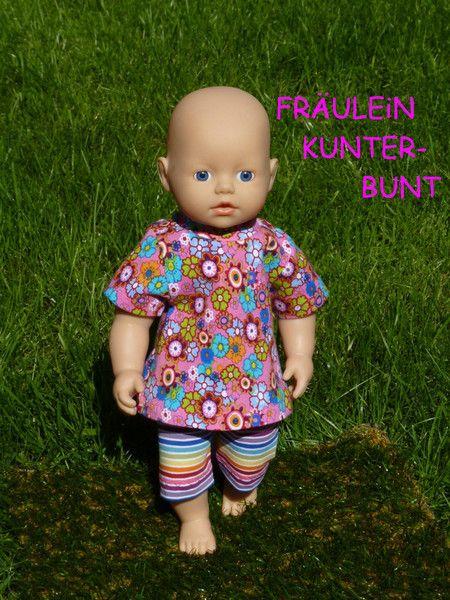 """Puppenkleidung - """"Fräulein Kunterbunt"""" 2tlg Set Gr.30-35cm - ein Designerstück von handgeschick bei DaWanda"""