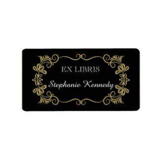 custom bookplates gold floral frame on black address label