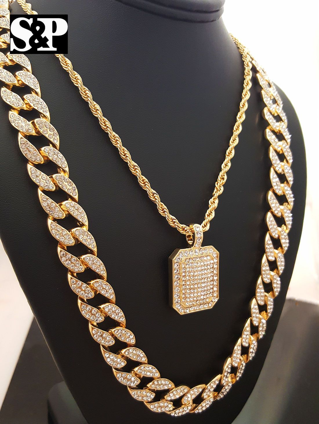 d206c37636f16 Iced out Pendant Necklace, Herringbone, Cuban Chain Combo | Products ...