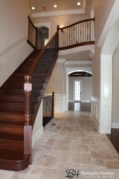Best Main Hallway Milled Cherry Wood Staircase With Iron 640 x 480
