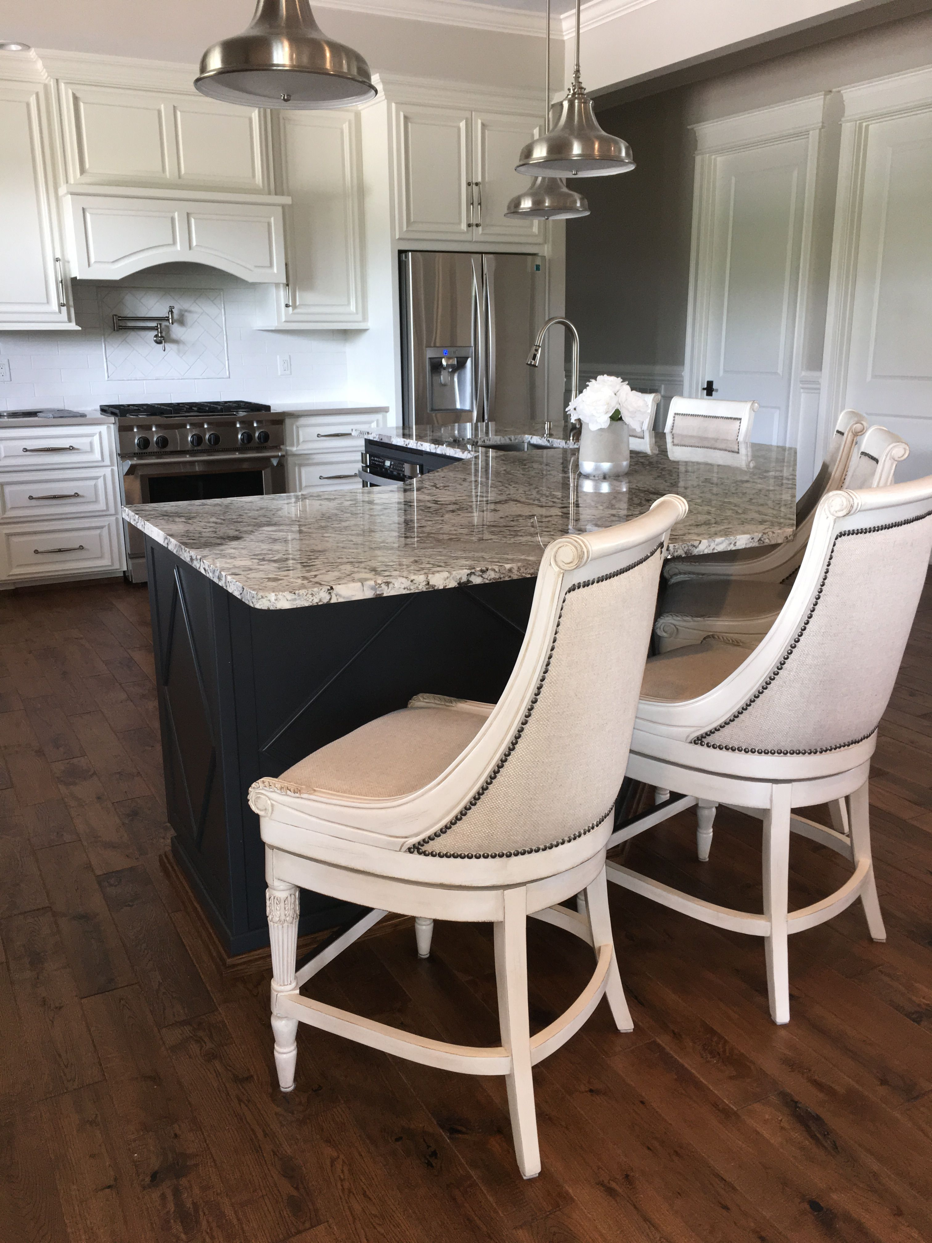 Kent Swivel Counter Stools By Frontgate Island Painted Bm Wrought Iron Granite Is Called Lennon White Cabine White Cabinets With Granite Kitchen Stools Home