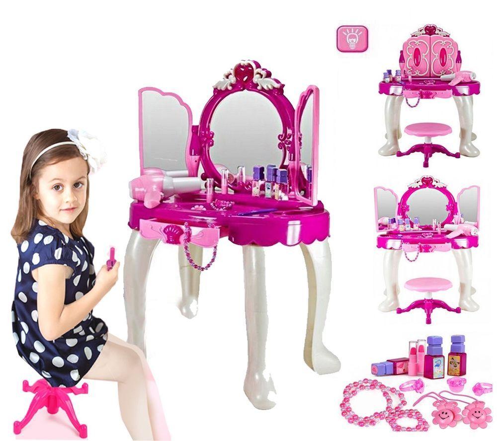 New Kids Children Glamour Girl Dressing Table W/ Stool Light Sound Mirror  Makeup