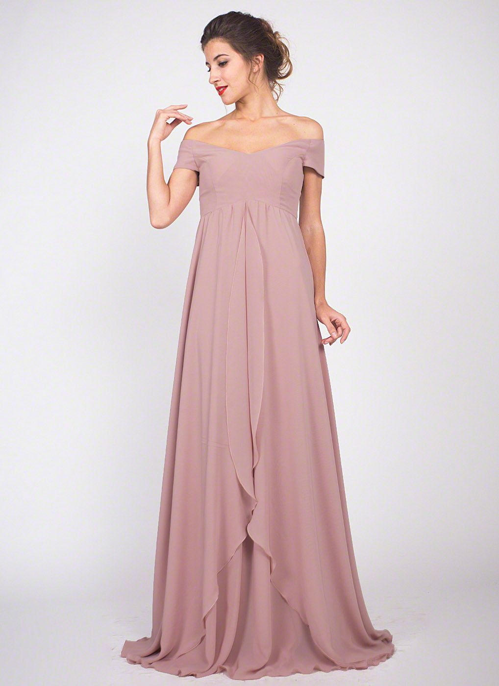 e2d22a94d768 Dusty Rose Pink Chiffon Maxi Dress Bridesmaid Dress Off Shoulder Chiffon  Prom Dress with Asymmetric Layered Skirt for Maid of Honor Off shoulder  design ...