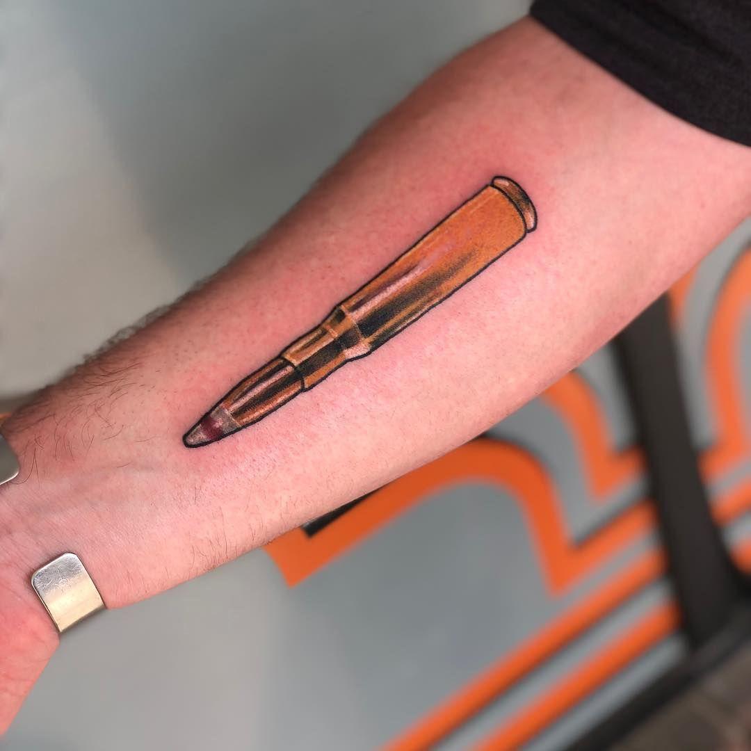 "White Bluff Tattoo Company on Instagram: ""Shooty boy by @beccabootattoos #50cal #tattoo #tattoos #guyswithtattoos #bullet #bullettattoo #ladytattooers #visitsavannah"""