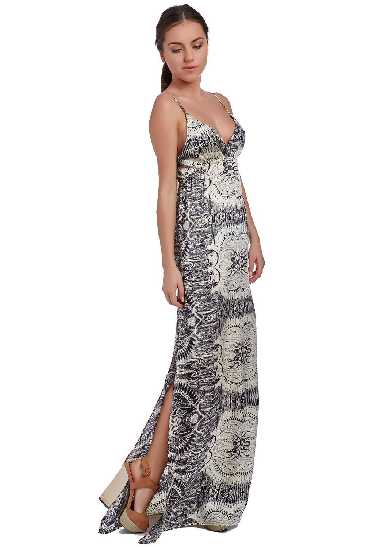 Q2 Beige Tile Print Maxi Dress