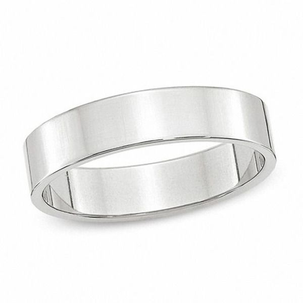 Men's 5.0mm Flat Square-Edged Wedding Band in 14K White Gold|Zales