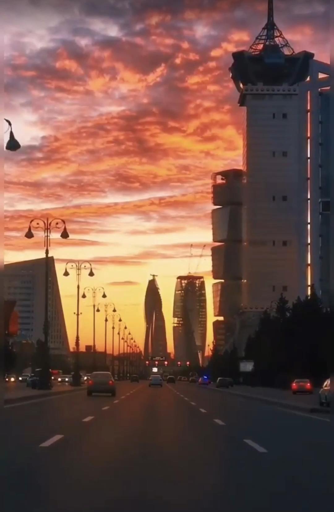 #Baku #city #view #sunset