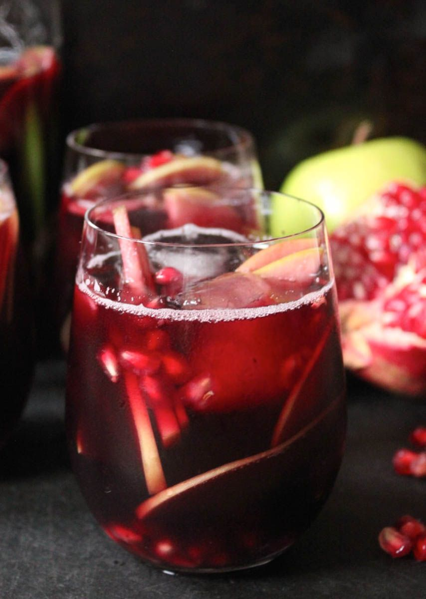 Autumn Sangria With Apples Pomegranate And Blackberries Domesticate Me Recipe Fall Sangria Pomegranate Sangria Food