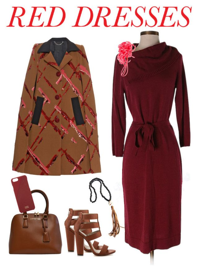 """red dress and camel accessories"" by junemedialab ❤ liked on Polyvore featuring Jonesy Wood Designs, The Limited, Michael Antonio, Adrienne Vittadini, Native Union, P.A.R.O.S.H., Marc Jacobs, women's clothing, women and female"
