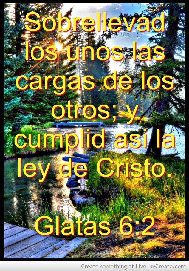 Sobrellevad los unos las cargas de los otros; y cumplid así la ley de Cristo. Gálatas 6:2