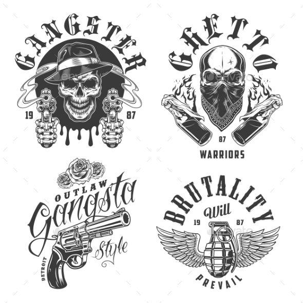 Set Of Gangster Emblems Miscellaneous Pinterest Tattoos