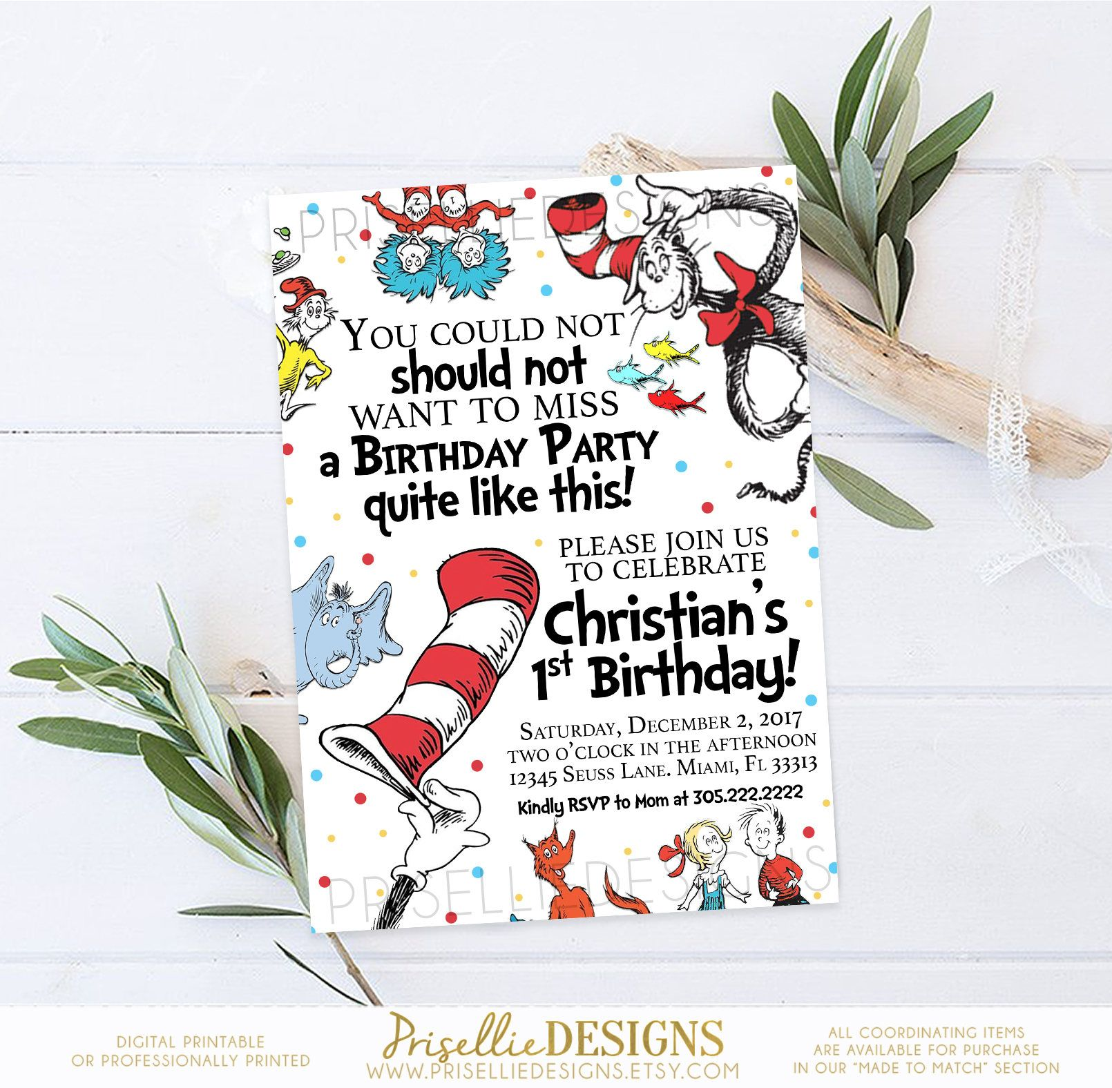 Dr. Seuss Birthday Invitation, Dr. Seuss First Birthday Invitation ...