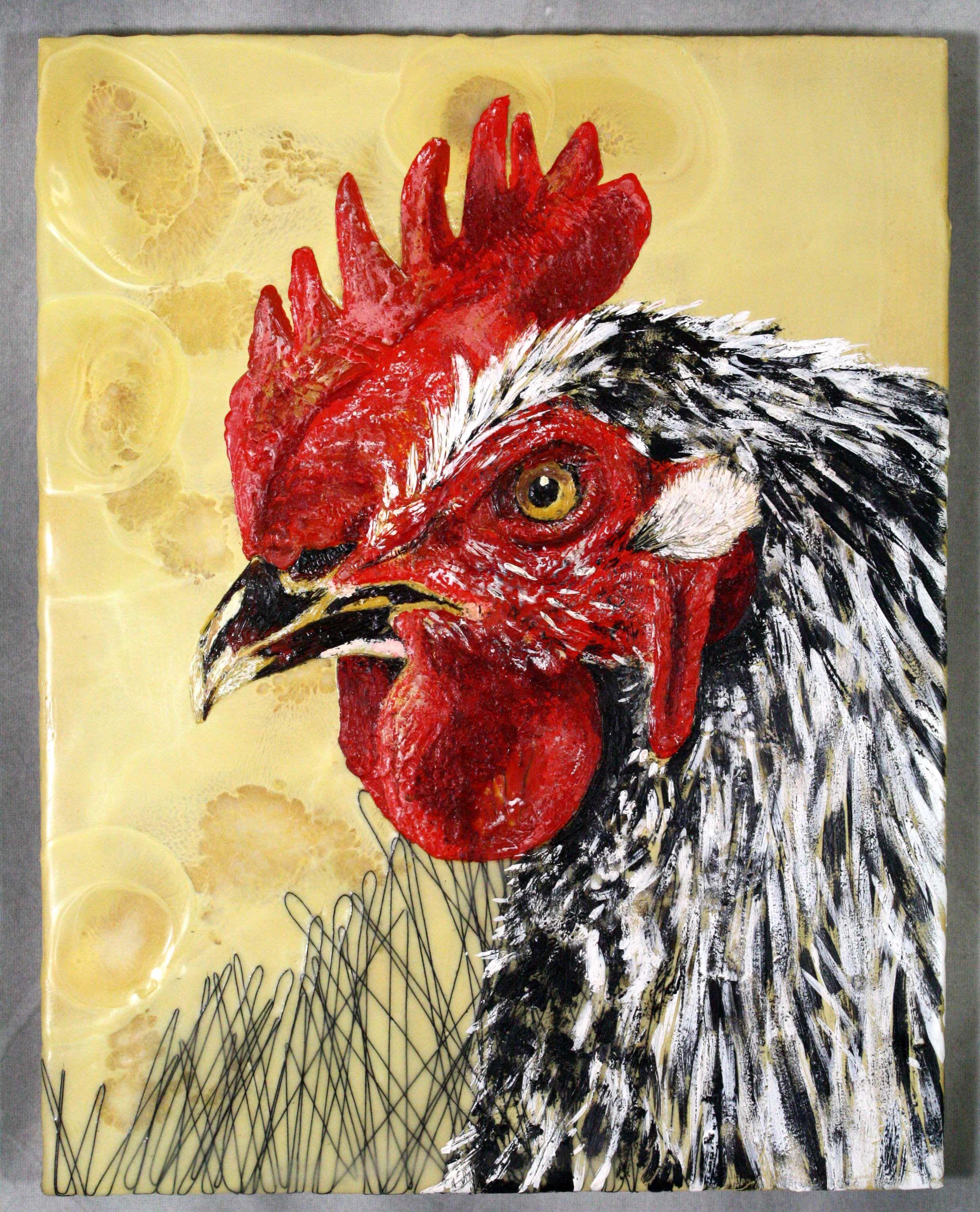 Harvey - Encaustic Painting - 2009 Chicken series