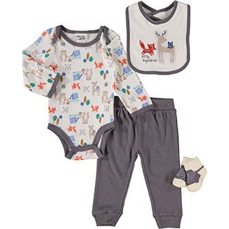 219005e63188d Chick Pea Four Piece Animal Motif Clothes Set