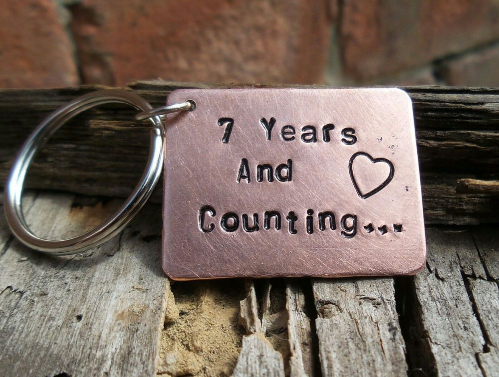7th WEDDING ANNIVERSARY Gift Keyring Love Heart COPPER