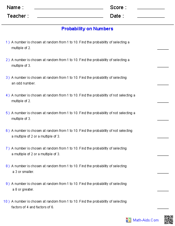 Probability Worksheets On Numbers Probability Worksheets Simple Probability Probability