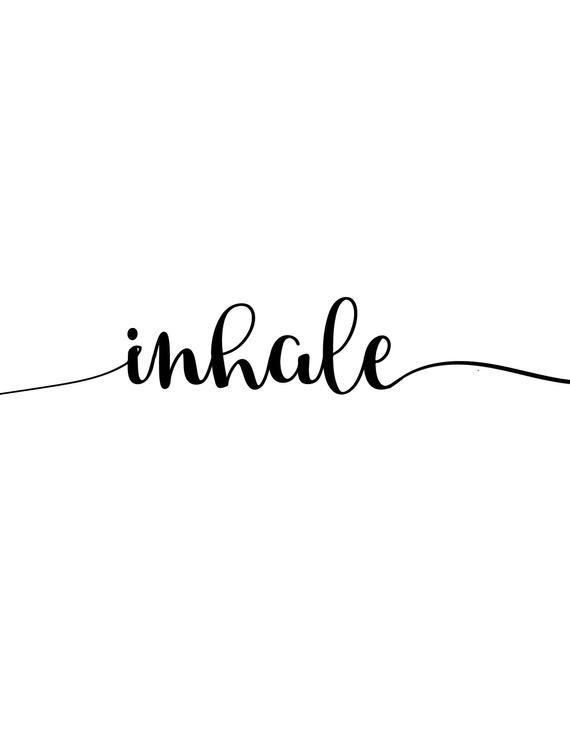 Inhale Exhale print, 3 designs for 1, minimalist, script, and color block, instant download, yoga, pilates, black and white, poster