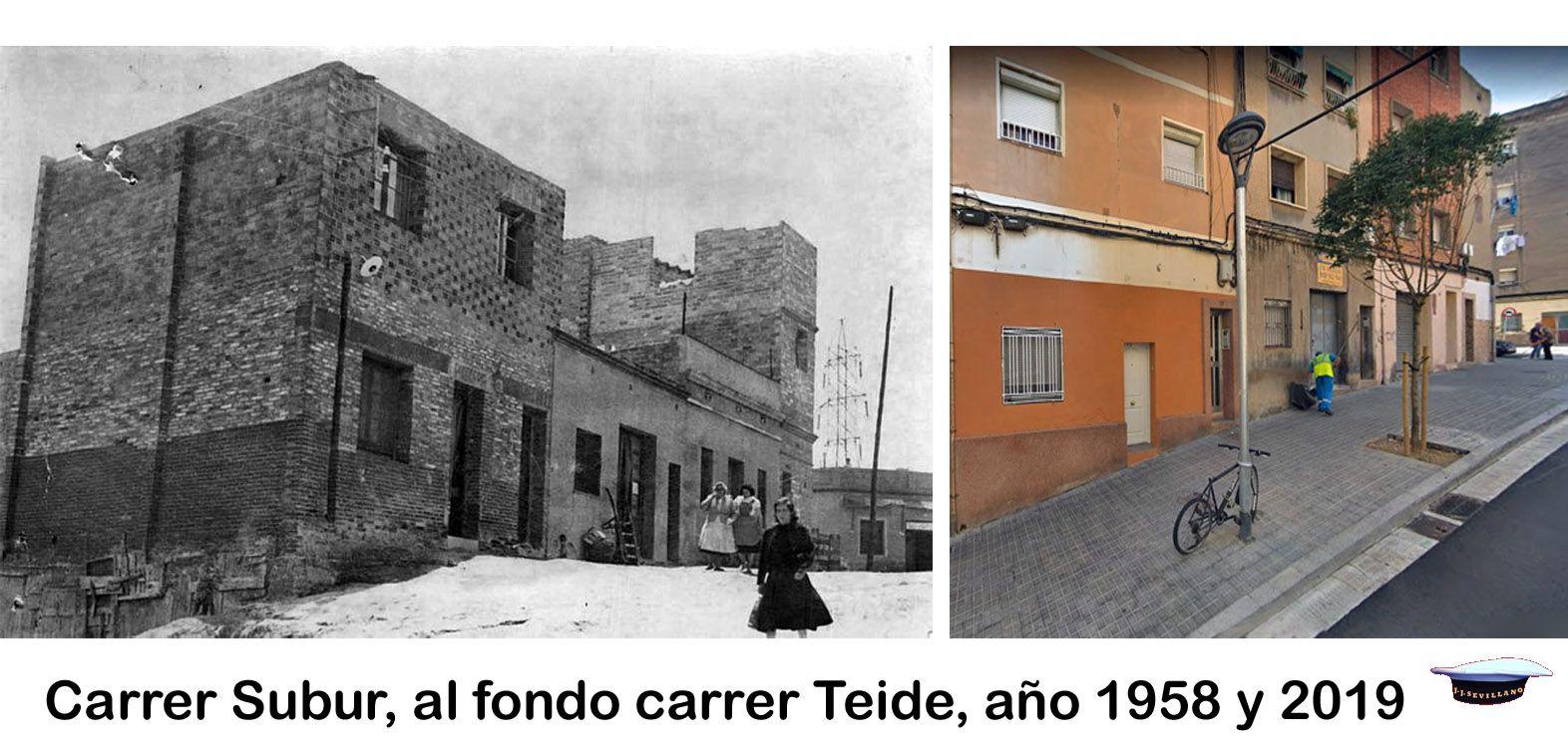 Carrer Subur Al Fondo Carrer Teide Año 1958 Y 2019 Teide Fondo Barcelona