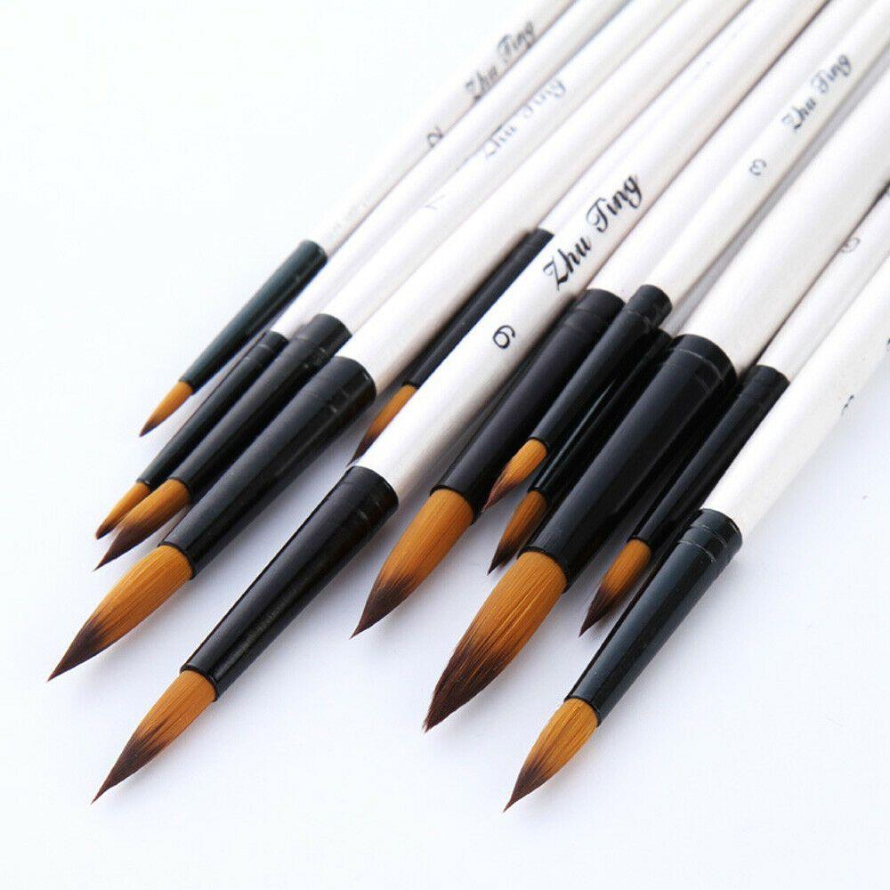 12pcs Artist Paint Brushes Set Watercolour Painting Pencil Hair
