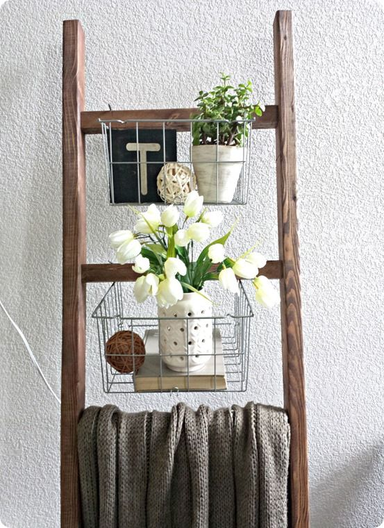 Blanket ladder with wire baskets steps to heaven home for Decor ladder house