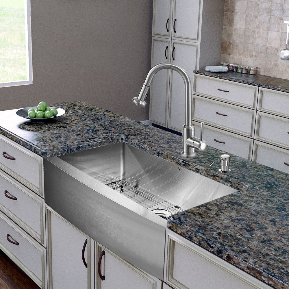 Vigo All In One 30 Inch Farmhouse Stainless Steel Kitchen Sink An Farmhouse Sink Kitchen Stainless Steel Farmhouse Kitchen Sinks Stainless Steel Farmhouse Sink