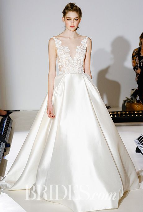 Brides.com: . Style 3658, ivory silk mikado ball gown, sheer appliqued Alencon lace bodice, V-neckline front and back, natural waist, box pleated A-line skirt, Lazaro Wedding gown 2017 - Bridal Fashion Week New York