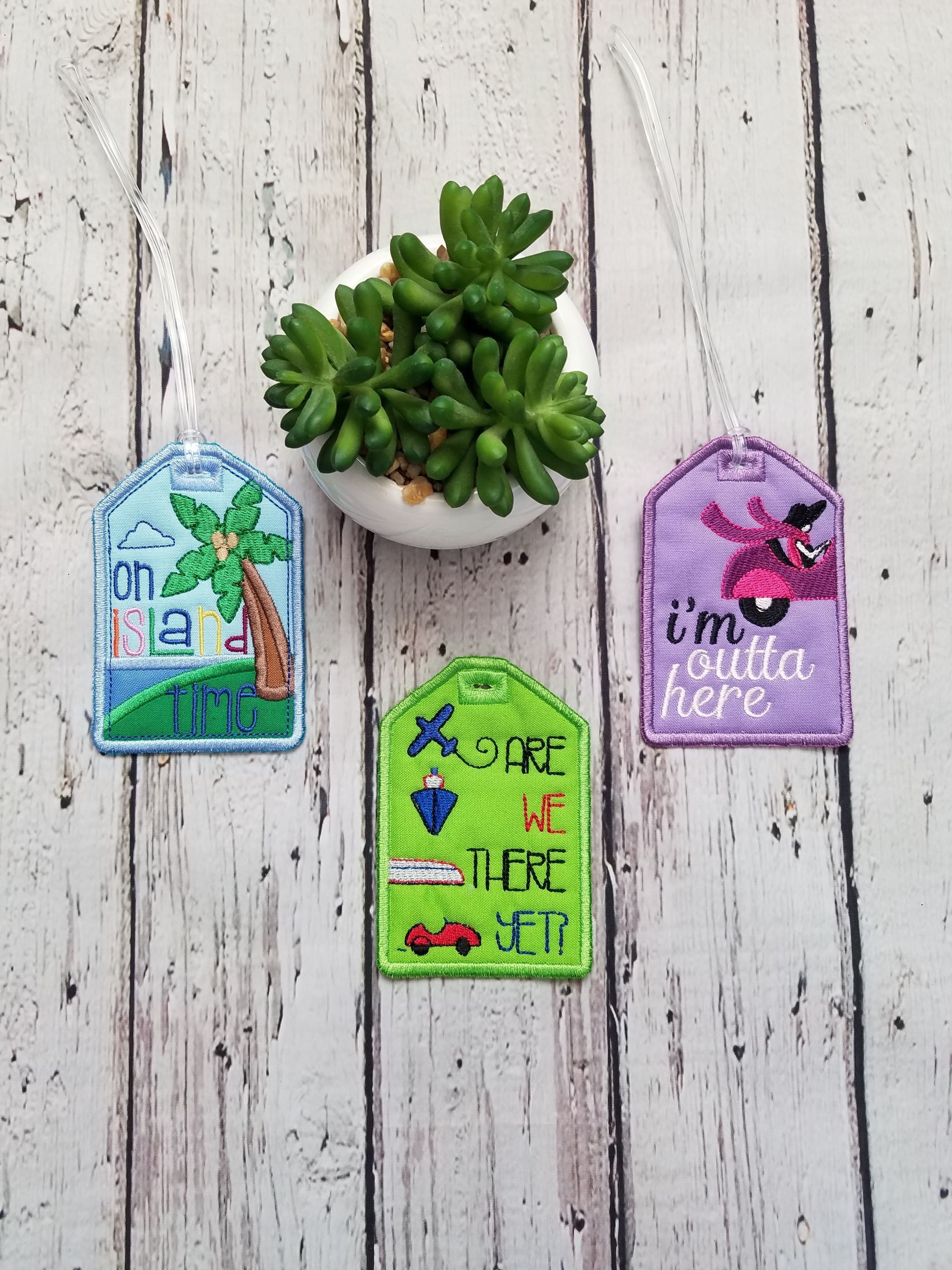 Travel in style with these Embroidered Luggage Tags.   Help make your luggage stand out from the rest.   Choose from: On island time                           Are we there yet?                           I'm outta here  #baggagetags #handmadeluggagetag #luggageaccessories #familyvacationtrip  #identificationtags #luggageidtag #baggageidtag #luggagelabel  #travelidtag #worldtraveler #suitcaseidtag #arewethereyet  #customluggagetag