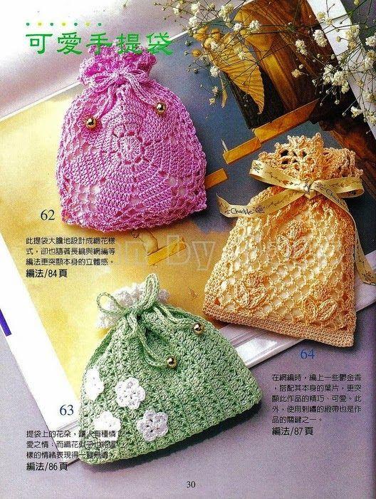 Crochet sachet bags♥LCB-MRS♥ with diagram   Wedding   Pinterest ...
