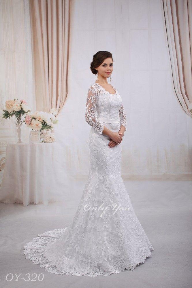 Luxury Mermaid Wedding Dress French Lace 3 4 Length Sleeves Opened Back Long Tail Plus