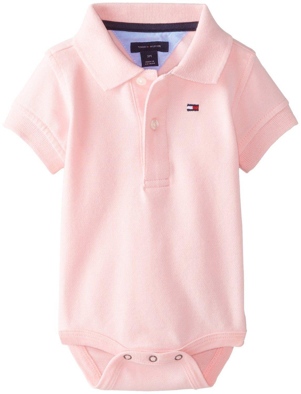 739fde6f2 AmazonSmile: Tommy Hilfiger Baby-Boys Newborn Ivy Polo Bodysuit, Cotton  Candy, 6…