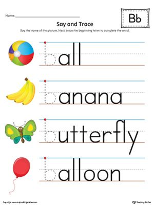 Say and Trace: Letter B Beginning Sound Words Worksheet (Color)