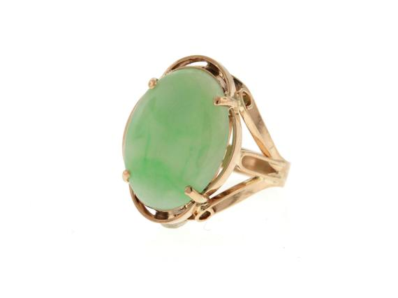 eb825f1f25d70 Vintage Jade Ring, Rose Gold Jade Ring, Retro 1960s Jade Statement ...
