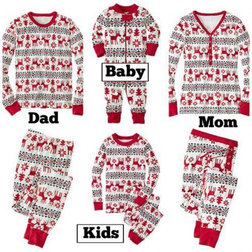 Dad Mom Kid Baby Creative Cotton Family Matching Sleepwear Pajamas Nightwear Set