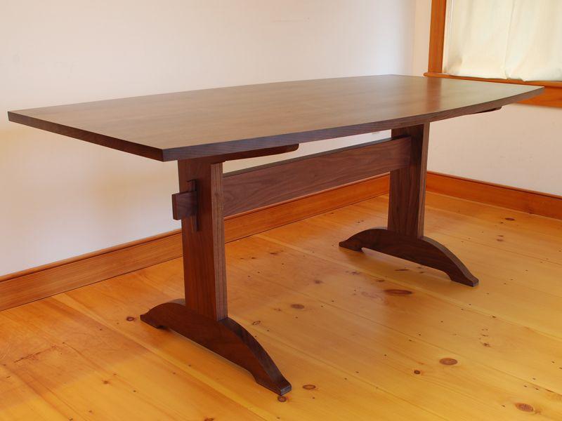 Custom Handmade Shaker Walnut Trestle Table Dining Table