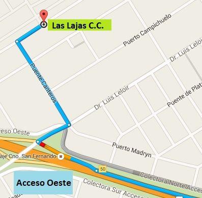 Información de Las Lajas, el Country se ubica en el Acceso Oeste Km. 50,5, salida Pte. San Fernando. Adjunto mapa de como llegar desde el acceso oeste, viniendo desde capital.