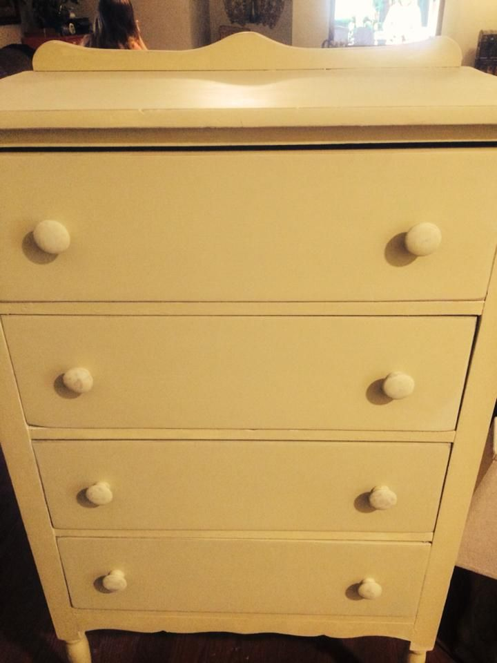 Vintage Chest Of Drawers Painted With Farmhouse Paint