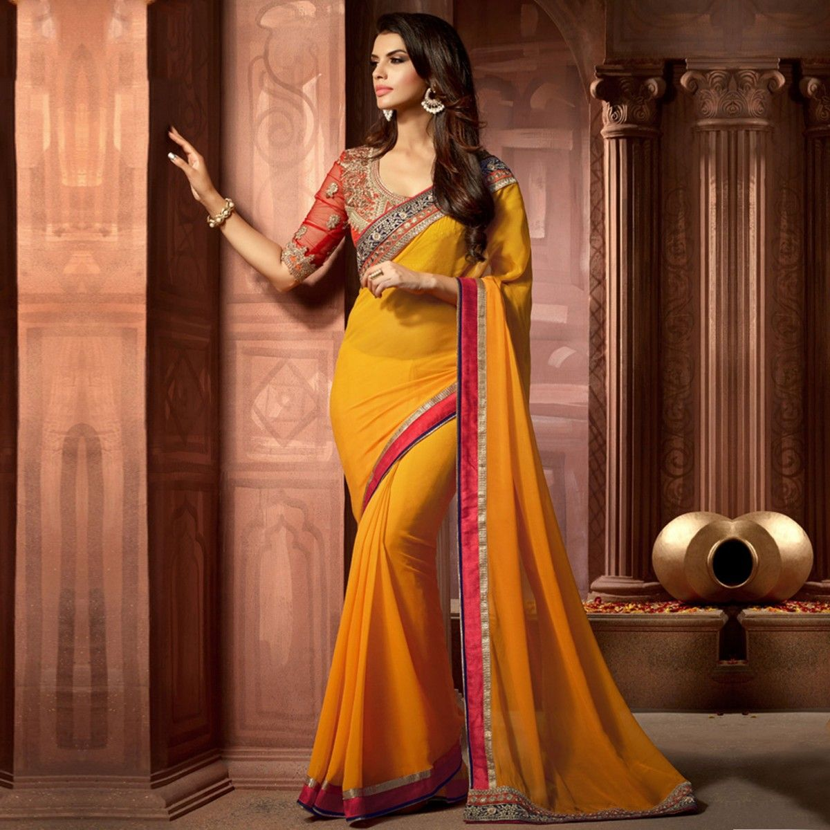 Buy Yellow Border Work Georgette Saree for womens online India, Best Prices, Reviews - Peachmode