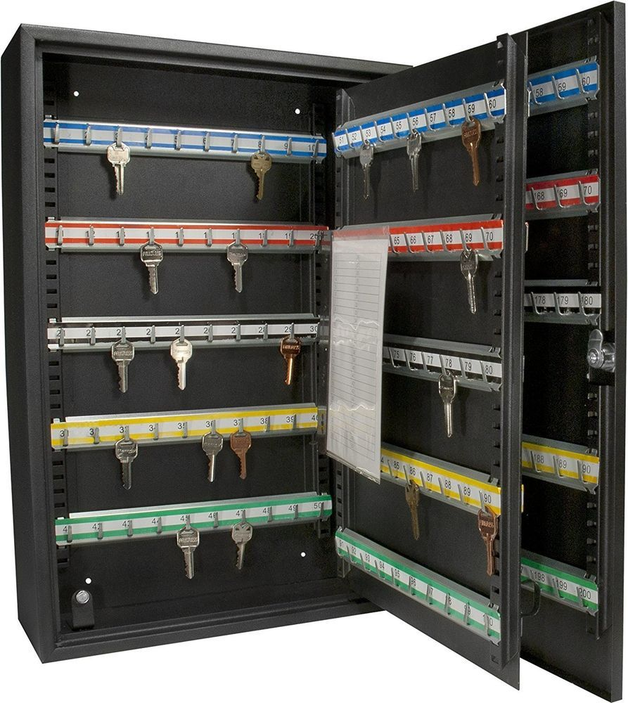 200 Key Storage Cabinet Safe Lock Box Security Wall Mount Holder Hook Organizer