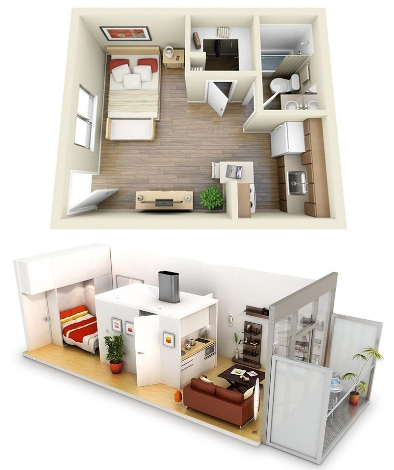 10 Ideas For One Bedroom Apartment Floor Plans Apartment Floor Plans Studio Apartment Floor Plans Small House Plans