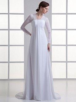 Vestidos corte imperio manga larga